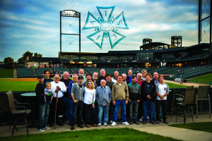 Stagehands local #124 enjoying a Great Night time Baseball Game in Beautiful Downtown Joliet.